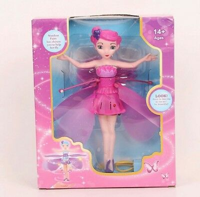 Pink Flying Fairy Magic Elsa Doll Infrared Induction Control Dolls Toy Xmas