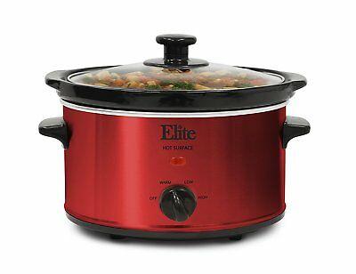 Crock Pot 2 Qt Oval Stainless Steel Red Slow Cooker 3 Temperature Settings New