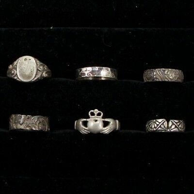 Sterling Silver - Lot of 6 Solid & Gemstone Rings Resell NOT SCRAP - 14g