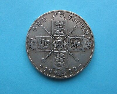 BRITISH ONE FLORIN COIN dated 1922. King George V. Silver.