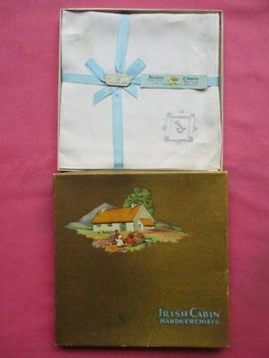 Box Vintage Irish Cabin Pure Linen Hand Loom Embroidery J Monogram Handkerchiefs
