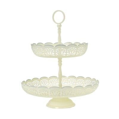 Laura Ashley Lace Edge Two Tier Enamel Cake Stand - New - rrp £28