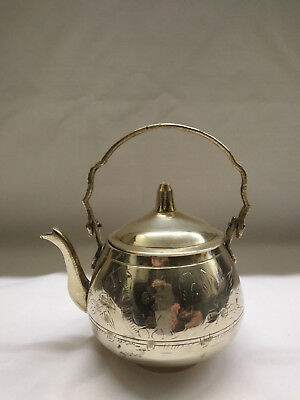 Decorative Vintage Brass Kettle With Swing Handle