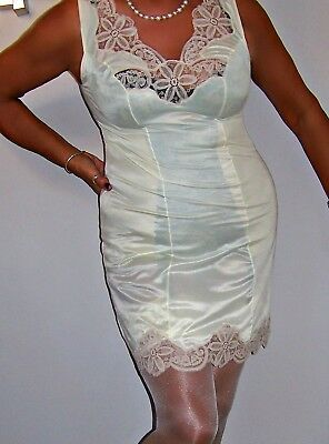 Stunning Vintage Ultra Femme Shiny Primrose Nylon/coffee Lace Full Slip.large Sz