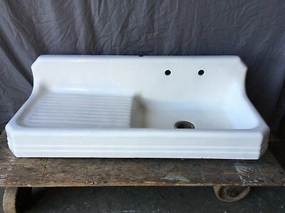 "Vtg 53"" Art Deco Cast Iron White Porcelain Kitchen Farmhouse Sink Old 734-17E"