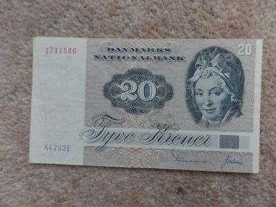 Rare Collection Denmark 20 kronur BANKNOTE 1972 .Very Good Gift.