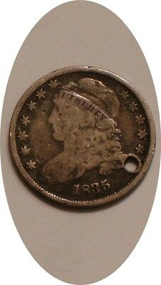 1835 Bust Dime original Holed FULL DETAIL
