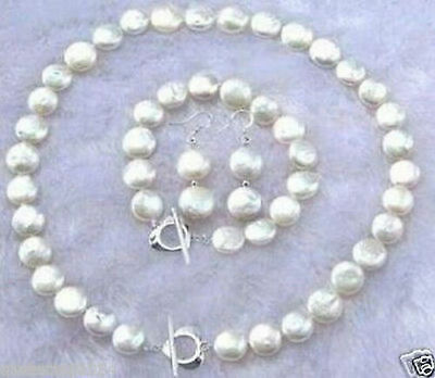 11-12MM White Coin Pearl Necklace Bracelet Earring Set