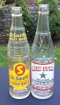 2 Old Johnstown PA Soda Pop Painted Label Bottles New Star Dr Swetts Root Beer