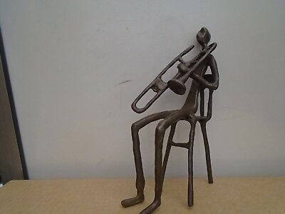 unusual abstract bronzed trombone player sculpture   quirky display figure  LOOK