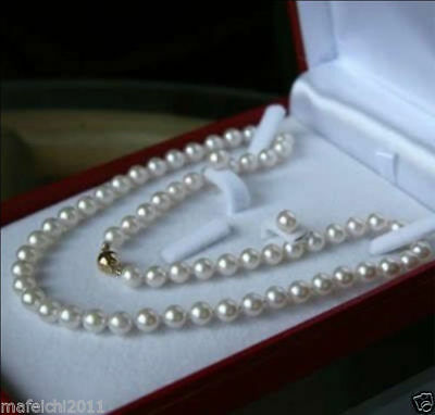 """Natural New 8MM White Akoya shell Pearl Necklace Earring Set 18"""" AAA(with Box)"""