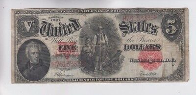 Legal Tender  $5 1907 Wood Chopper fine stains