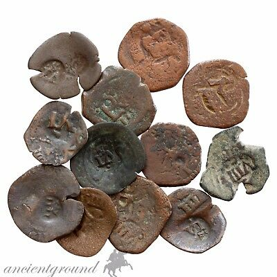 Lot Of 12 Bronze Spain Ae Pirates Coins