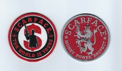 "2 SCARFACE Money Power Respect ""The World is Yours"" patch lot AL PACINO - NEW!"