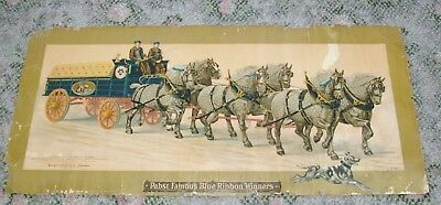 """Pre Prohibition Pabst Blue Ribbon Beer Brewing Co Paper Sign 30"""" Draft Horses"""