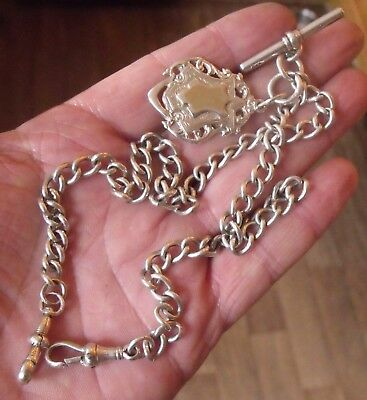 Antique Sterling Silver Double Albert Pocket Watch Chain & Fob.