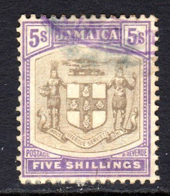 Jamaica 1905-11 Arms 5s Grey & Violet SG45 Used