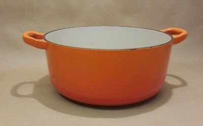 Le Creuset Cast Iron Volcanic Orange 20cm Casserole Dish Pot H1 20 France VGC
