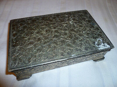 Wonderful Vintage Jewellery Box. Antique Jewelry Case. Old Jewellers Box Silver