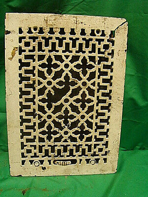 ANTIQUE LATE 1800'S CAST IRON HEATING GRATE ORNATE DESIGN 13.75 x 9.75 KJ