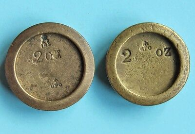 Two 2oz brass GPO weights