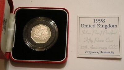 1998 PIEDFORT Silver Fifty Pence of Great Britain GEM PROOF in Box with COA