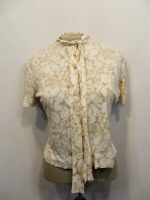 Vintage Blouse 50s Rayon Jersey Pussy Bow Floral Print Rockabilly AS IS