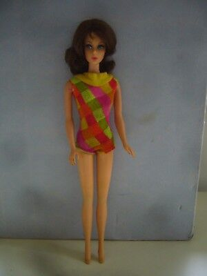 Vintage 1969 Mattel TNT Flip Hair Barbie Doll In Original Swimsuit