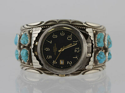 Native American Indian Sterling Silver Turquoise Wide Cuff Bracelet Watch Signed
