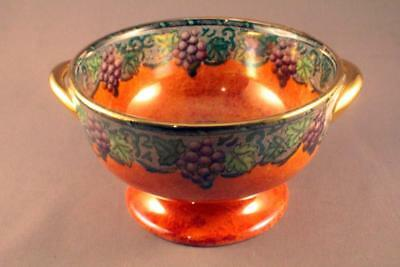 Beautiful Maling Orange Lustre Butterfly Bowl - Perfect
