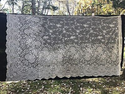 Antique French Net Lace Yardage-Bridal Lace-Tambour-Floral 1920's Lot #11