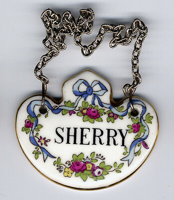 Crown Staffordshire decanter label .. Sherry. 3 available