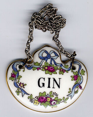 Crown Staffordshire decanter label .. Gin. 3 available