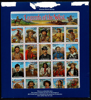 "$US Sc#2870 ""Legends of The West"" recall error sheet, sealed pack, Cv. $220"