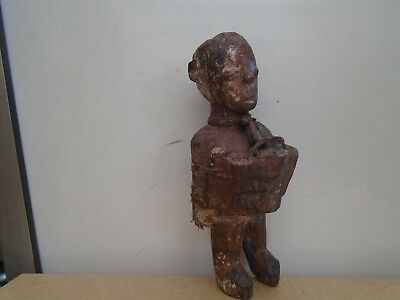 antique ethnic wooden figure   possibly african fetish statue  odd voodoo doll?
