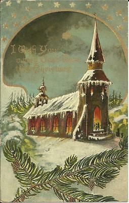CHRISTMAS GREETINGS - WINTER SCENE (COLOUR PRINTED POSTCARD) c1910