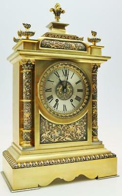Fine Antique Ormolu & Silver Mantel Clock French 8 Day Carved Fret 2 Tone Clock