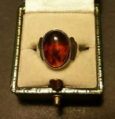 Ladies Vintage Art-Deco 925 Sterling Silver 6ct baltic Amber Solitaire Ring Sz L