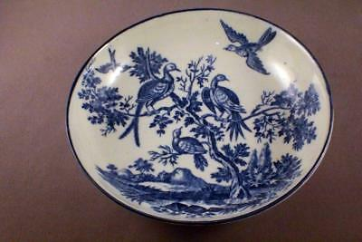 RARE WORCESTER FIRST PERIOD BLUE & WHITE DISH / SAUCER c.1770's - PERFECT