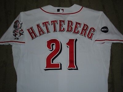 SCOTT HATTEBERG CINCINNATI REDS 2008 GAME WORN USED JERSEY (RED SOX OAKLAND A's)