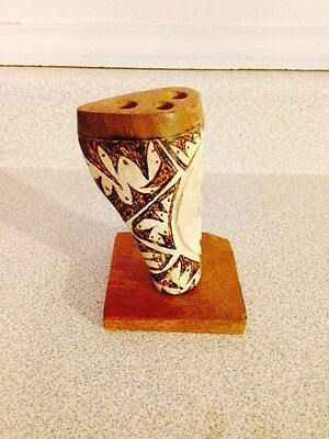 Vintage Carved Bone And Ink Decorated Fountain Pen / Pen Or Pencil Holder