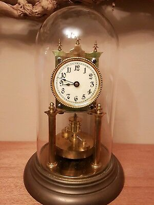 400 Day Anniversary Clock Glass Dome, Disc Pendulum Perfect Working Order