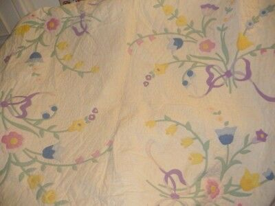 Vintage Antique Quilt flower tulips  applique' embroidery white pink green large