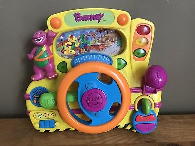 Barney Safety Songs Driver Musical Talking Steering Wheel Electronic Driving Toy
