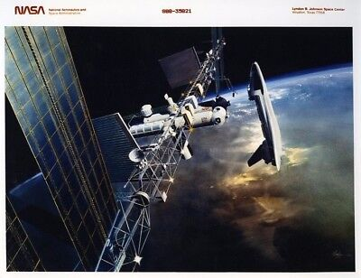 SPACE SHUTTLE / Orig NASA 8x10 Press Photo - 1986 Artist Concept with ISS
