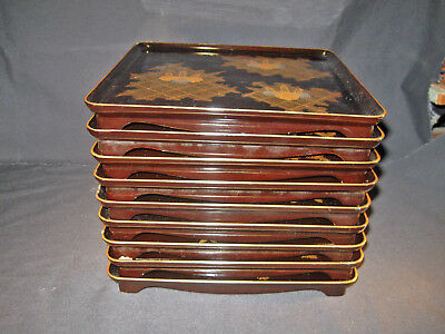 Matching set 9 Japanese Meiji Lacquer Trays w/ gold Wisteria Design No reserve