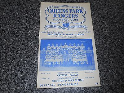 QUEEN'S PARK RANGERS  v  BRIGHTON & HOVE ALBION  1953/4 ~ AUGUST 19th    VINTAGE
