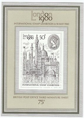 GB 1980 London Stamp Exhibition MS1119 50p Miniature Sheet Unmounted Mint, MNH