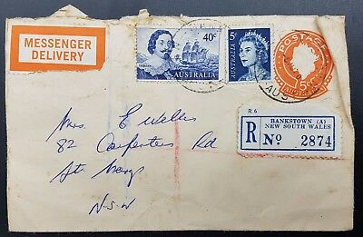 Australia 1970 Registered Postal Stationery Cover, Bankstown to St Mary's.