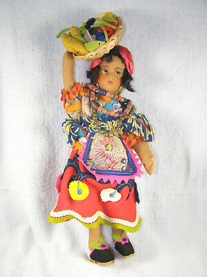 Vintage Lenci Type Cloth Face Doll - Woman Carrying Fruit - Brazil Labels